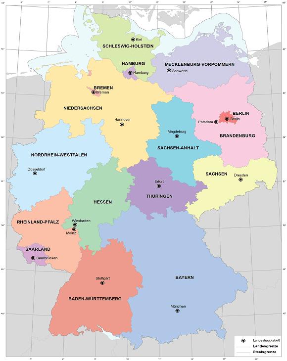 deutschland karte bundesländer mit hauptstädten Bundesländer Deutschland | Karte   Hauptstädte   Landkreise