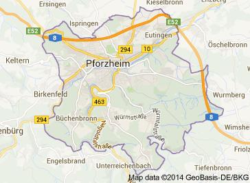 Pforzheim Karte.Stadt Pforzheim Stadtteile Plz Einwohner Karte