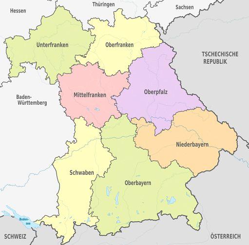 Bayern Regierungsbezirke Bezirke Karte Einwohner