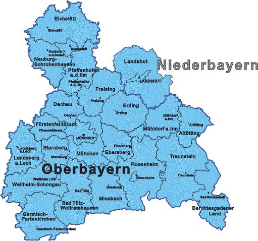 Karte Oberbayern Landkreise.Bezirk Oberbayern Landkreise Kreisfreie Stadt Karte