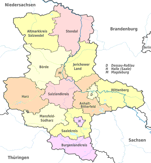 Vorwahlen Deutschland Karte.Land Sachsen Anhalt Landkreise Stadt Gemeinden Karte