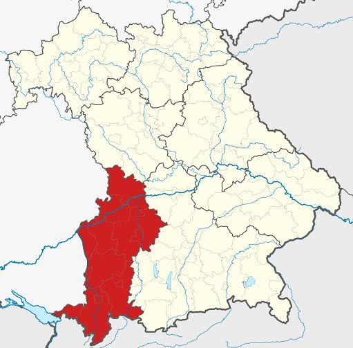 Schwaben Karte Deutschland.Bezirk Schwaben Bayern Landkreise Stadt Karte
