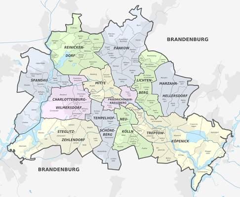 Berlin Stadt Bezirke Stadtteile Karte Liste Plz