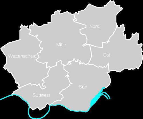 Bochum Karte.Stadt Bochum Bezirke Stadtteile Plz Karte