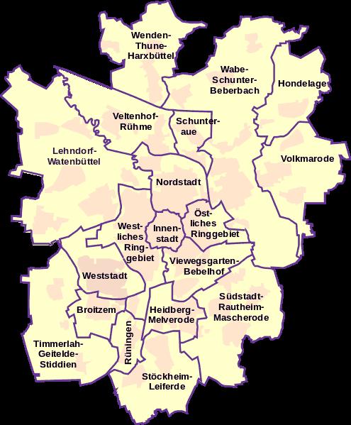 Flyerverteilung-Braunschweig | Stadtbezirke und Stadtteile