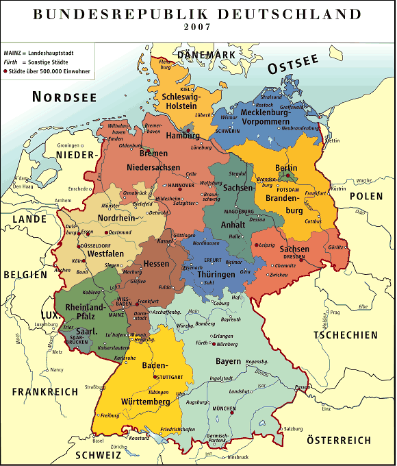 Regions Of Germany Map.Regions Germany County City Circle Community Districts