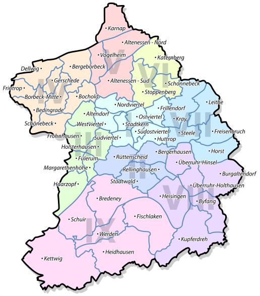Freiburg Karte Stadtteile.Stadt Essen Karte Plz Stadtteile Bezirke Einwohner