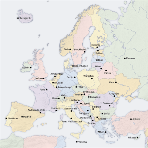 hauptst dte europa l nder liste karte europakarte. Black Bedroom Furniture Sets. Home Design Ideas