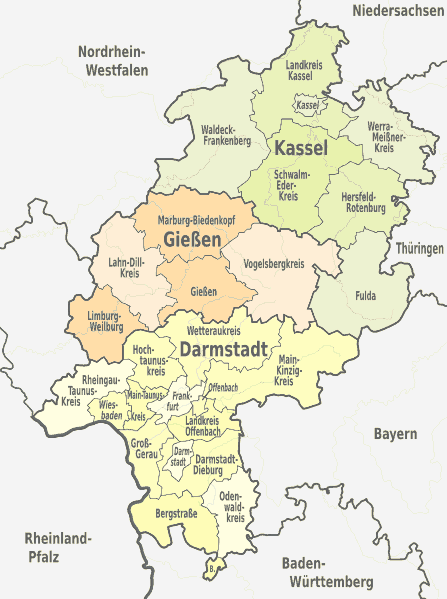 Arbeitsblatt Hessen Gebirge Flüsse : Land hessen landkreise kreisfreie städte karte