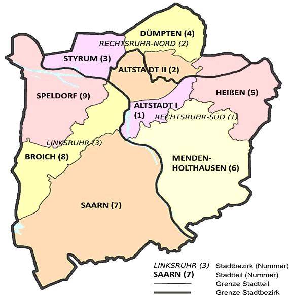Karte Ruhrgebiet.Mülheim An Der Ruhr Bezirke Stadtteile Liste Karte