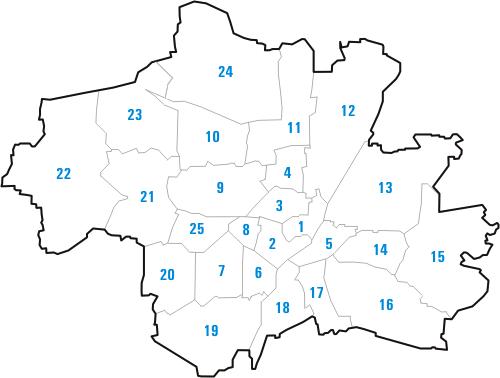 München Stadt | Bezirke - Stadtteile - Viertel - Karte - PLZ