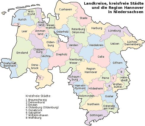Vorwahlen Deutschland Karte.Niedersachsen Karte Landkreise Städte Bundesland