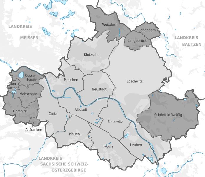 stadtbezirke dresden karte Stadt Dresden | Stadtteile   Ortsteile   Bezirke   Karte