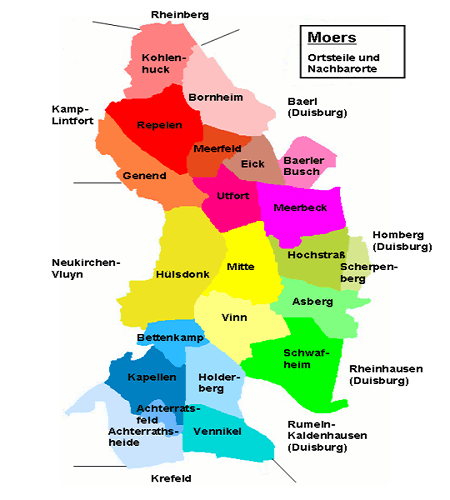 Freiburg Karte Stadtteile.Moers Stadtteile Ortsteile Plz 47441 Karte Stadtplan