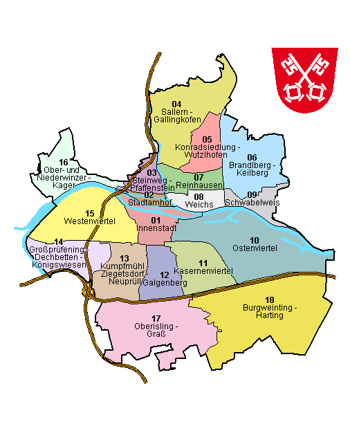 Freiburg Karte Stadtteile.Regensburg Stadtteile Plz Einwohner Karte Liste