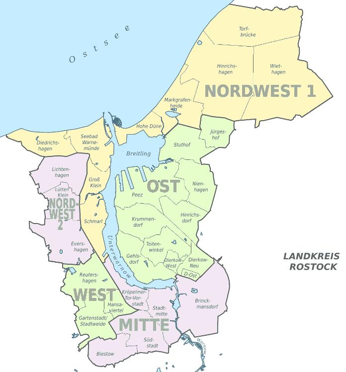 Freiburg Karte Stadtteile.Rostock Stadtteile Stadtplan Ortsteile Liste Einwohner