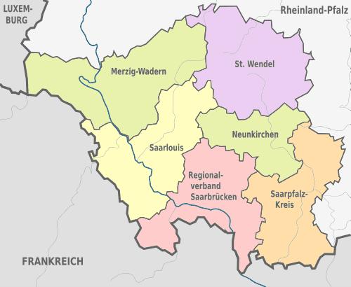 Bundesland Karte Mit Städten.Saarland Karte Landkreise Städte Gemeinde Einwohner