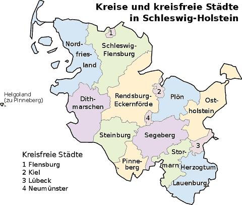 Schleswig Holstein Karte.Schleswig Holstein Land Landkreise Städte Karte