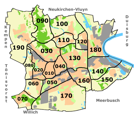 Krefeld Karte.Krefeld Bezirke Stadtteile Karte Plz Einwohnerzahl