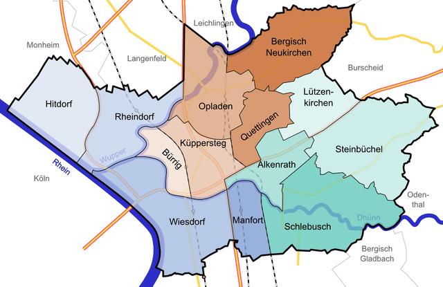 Freiburg Karte Stadtteile.Leverkusen Karte Bezirke Stadtteile Plz Einwohner