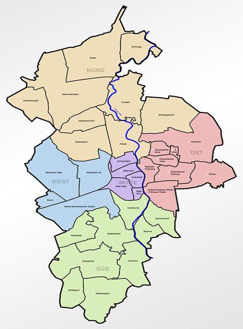 Zwickau Karte.Zwickau Bezirke Stadtteile Ortschaften Karte